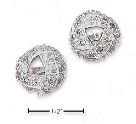 Sterling Silver Pvae Cz Knot Place Earrings