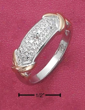 Sterling Silver Pave Diamond Accent Ring Gold Tone Xs