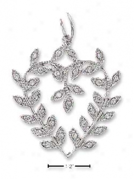 Sterling Silver Pave Leafy Vine Heart Pendant