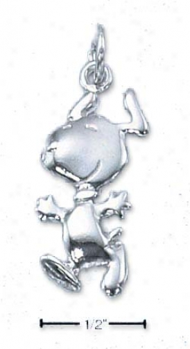 Sterling Silver Peanuts Jumping Snoopy Charm