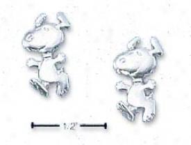 Genuine Silver Peanuts Jumping Snoopy Office Earrings