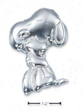Sterling Silver Peanuts Snoopy With Woodstock Charm