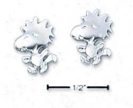 Sterling Silver Peanuts Woodstock Post Earrings