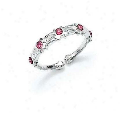 Sterling Silver Pink Cz X Toe Ring