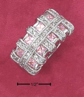 Sterling Silver Pink Princess Cut Cz Ring Clear Cz Rings