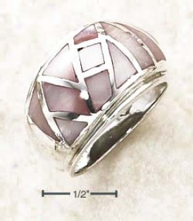 Sterling Silver Pink Case Random Inlay On Dome Ring