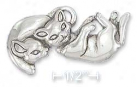 Sterling Silver Playing Kittens Pin (19x35mm)