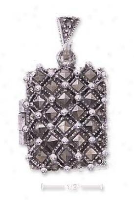 Strrling Silver eRctangular Marcasite Locket Pendant