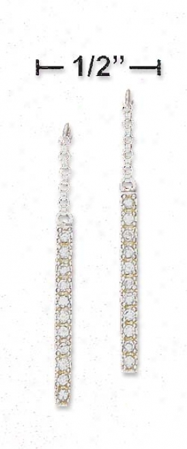 Sterling Silver Rolo Chain And Cz Bar Dangle Post Earrings