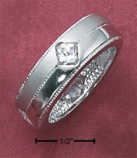 Sterling Silver Satin And 7mm Ring With Czs And Milled Edges