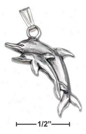Genuine Silver Satin Dc Dolphin With Baby Charm