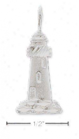 Sterling Silver Satin/dc Lighthouse Charm