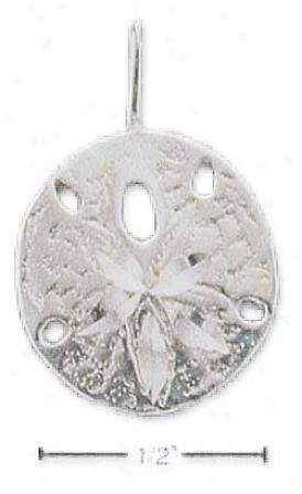Sterling Silver Satin/dc Sand Dollar Charm