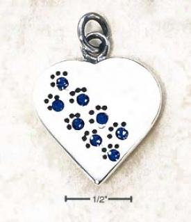 Sterling Silver September Cz Paw Heart Pendant (engravable)
