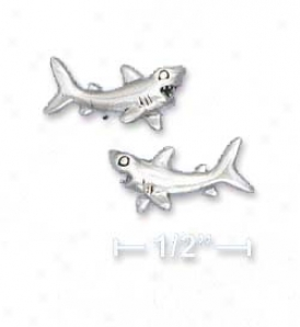 Sterling Silver Shark Post Earrings