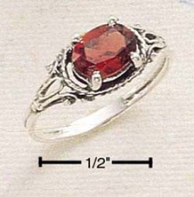 Sterling Silver Side Lying Garnet With Dainty Shank Ring