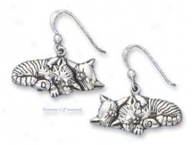 Sterling Silver Sleeping Kitty Couple Earrings (nickel Free)