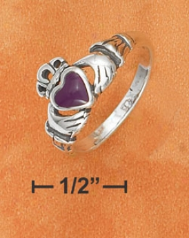 Sterling Silver Small Antiqued Claddaugh Ring Sugilite Heart