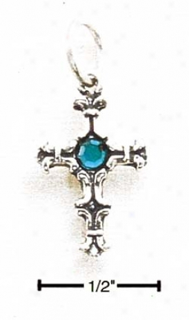 Sterling Silver Small Cross With Teal German Crystal