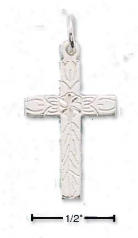 Sterling Silver Small Dc Cross Center Flower And Vine Charm