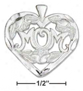 Sterling Silver Small Heart With Mom Charm