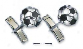 Sterling Silver Soccer Ball Cuff Links