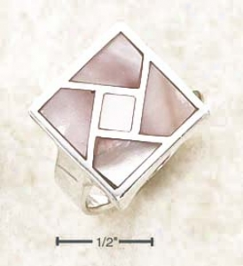 Sterling Silver Perpendicular Inlayed Pink Mop Mosaic Ring