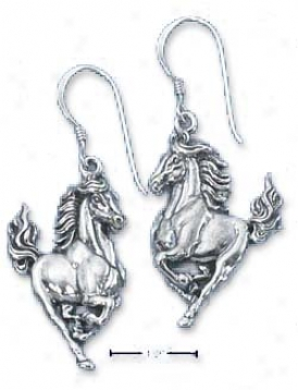 Sterling Silver Stallion Earrings On French Wir3s