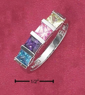Sterling Silver Tension Set Multi Color Cz Ring
