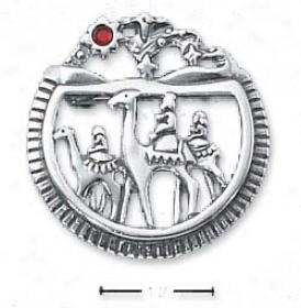 Sterling Silver Three Sensible Men Pin/pendant Red Crystal Star