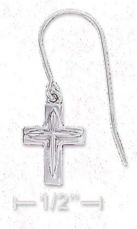 Sterling Silver Little Cross With Raised Inside Earrings
