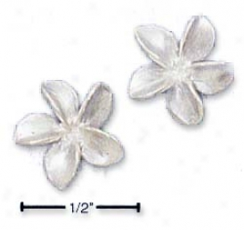 Sterling Sjlver Tiny Satin Flower Post Earrings