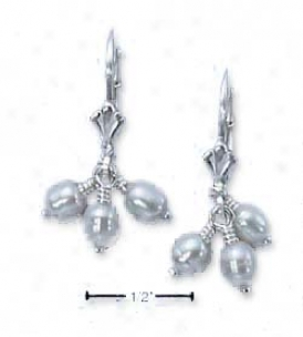 Sterling Silver Tri Pearl Drop Lever Back Earrings