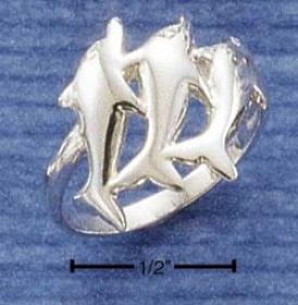 Sterling Sillver Triple Dolphin Ring