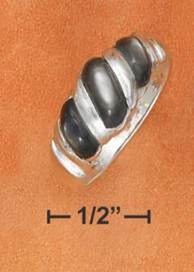 Sterling Silver Threefold Gray Shell Shrimp Ring