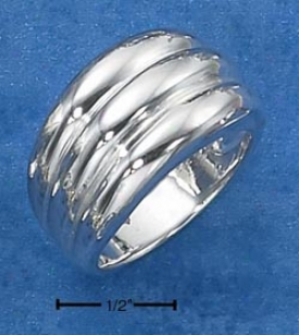 Sterling Silver Triple Horozontal Lined Tapered Band Ring
