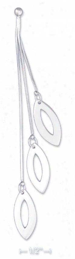 Sterling Silver Triple Ovla Leaf Earrings Ball Pots Dangle