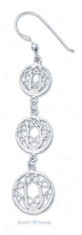 Sterling White Triple Roped Filigree Circle Dangle Earrings