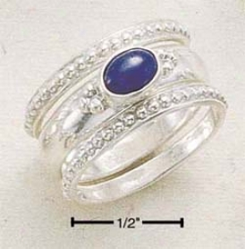 Sterling Silver Triple Stack Shank With Oval Side Lapis Ring