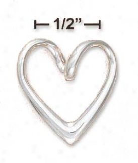 Sterling Silver Fistular Open Contemporary Heart Slider Charm
