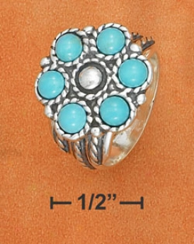 Sterling Silver Turquoise Flower Center With Design Ring