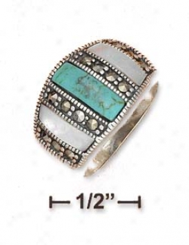 Sterling Silver Turquoise Mop Marcasite Dividers Dome Ring