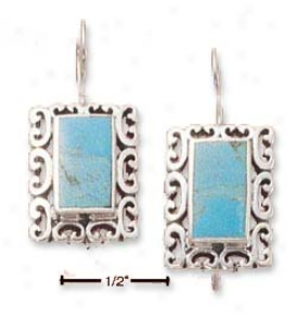 Sterling Silver Turquoise With Scroll Border Earrings