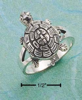 Sterling Silver Sea-tortoise Poison Ring