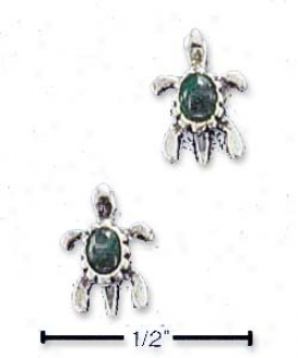 Sterling Silver Turtle With Malachite Post Earrings