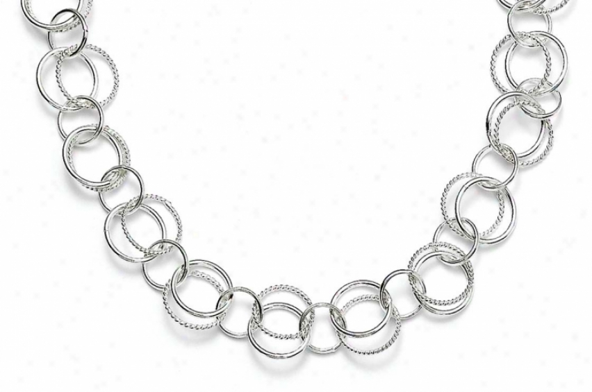 Sterling Silver Twist Polished Double Links 42 Inch Necklace