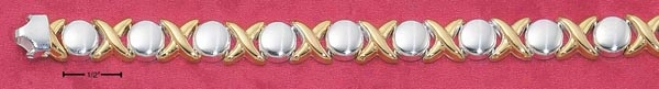 Sterlint Silver Two-tone 7 In Small Hugs And Kisses Bracelet