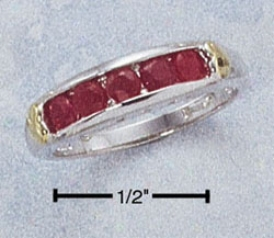 Sterling Silver Two-tone Clique With Channel Set Genuine Ruby