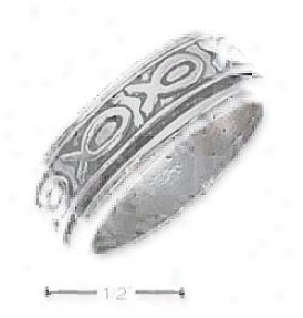 Genuine Silver Unisex Antiqued Fish Spinner Band Ring