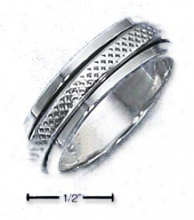 Sterling Silver Unisex Snakeskin Textured Spinner Ring